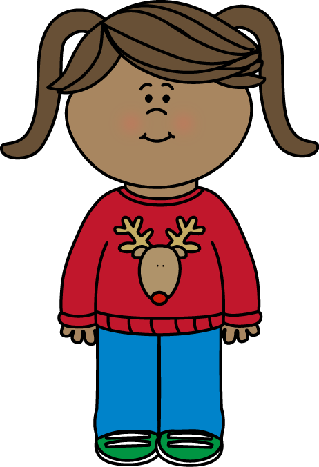 Girl Wearing a Christmas Sweater Clip Art