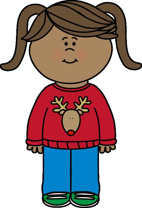 Girl Wearing a Christmas Sweater Clip Art