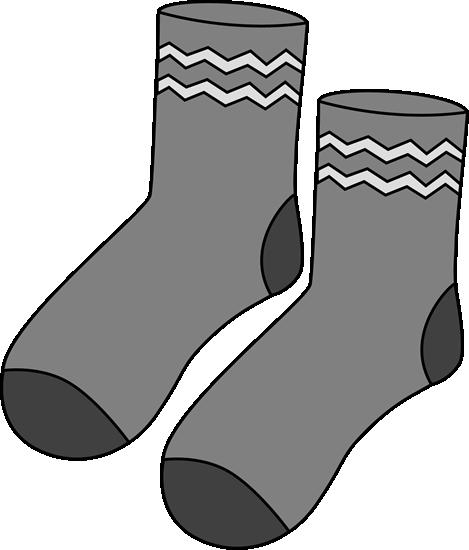 Gray Pair of Socks Clip Art