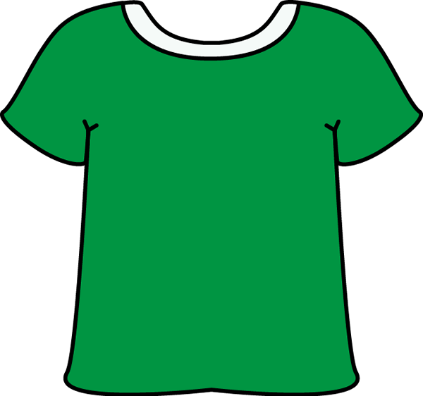 Green Tshirt with a White Collar with a White Collar