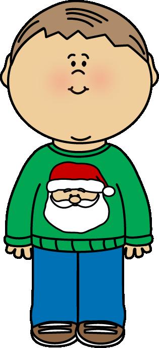 Kid Wearing a Christmas Sweater Clip Art