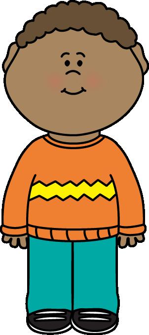 Kid Wearing a Sweater Clip Art