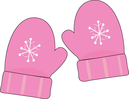 Pink Mittens Clip Art - pair of pink Mittens with a snowflake pattern.