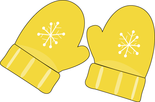 Yellow Mittens Clip Art - pair of yellow mittens with a snowflake ...
