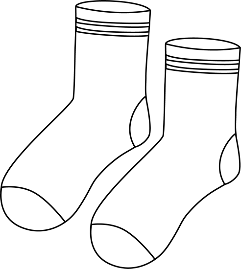 Pair of Black and White Socks Clip Art