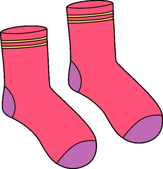Pink Pair of Socks Clip Art