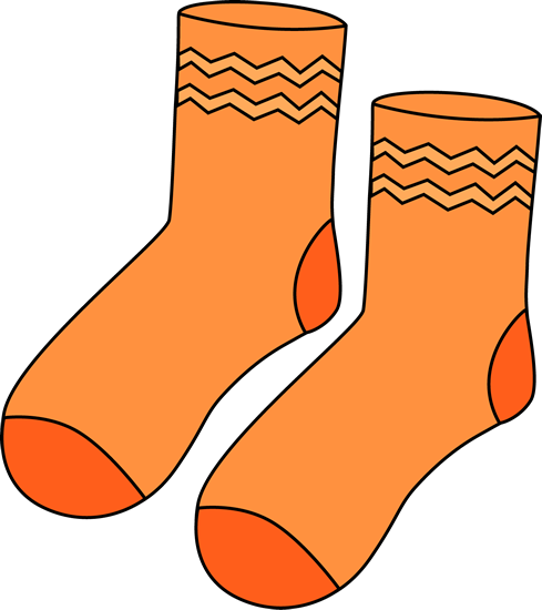 Pair of Orange Socks Clip Art