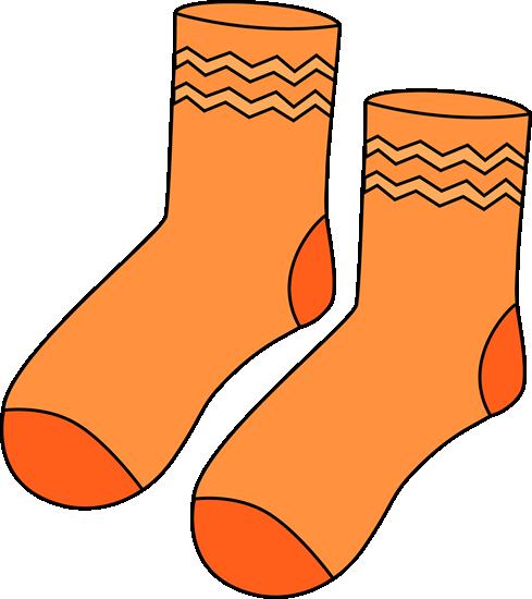 Pair of Orange Socks Clip Art
