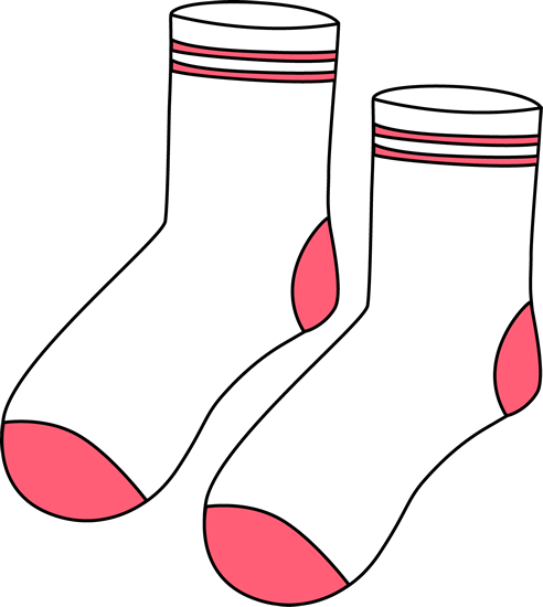 Pair of White and Pink Socks Clip Art