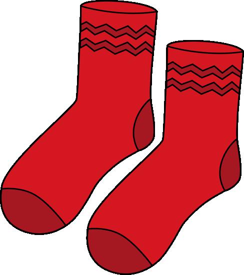 Red Pair of Socks Clip Art