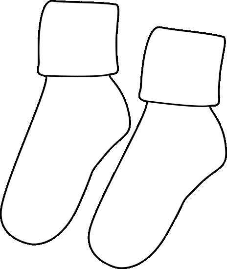 Pair of Black and White Socks Clip Art