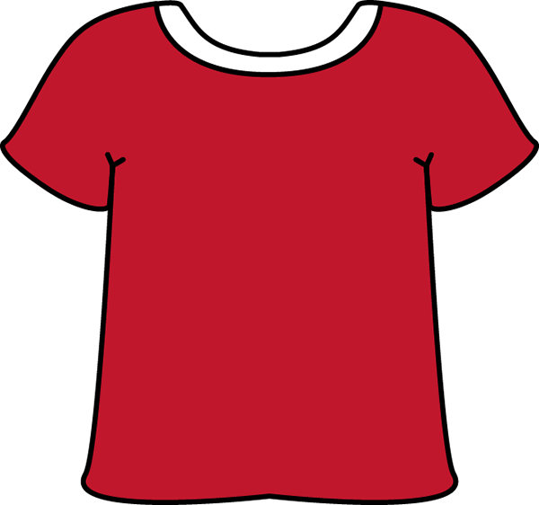 Red Tshirt with a White Collar with a White Collar