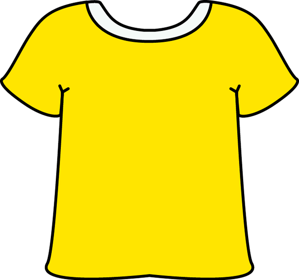 Yellow Tshirt with a White Collar with a White Collar