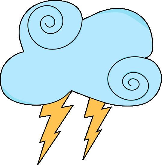 Light Blue Swirl Cloud with Lightning