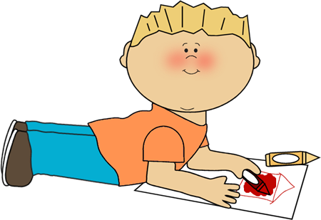 boy coloring clip art image boy laying on the floor coloring a picture