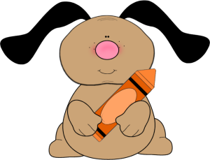 Dog with Orange Crayon