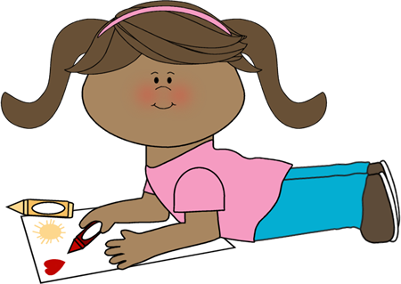 girl coloring clip art image girl laying on the floor coloring a piece of paper