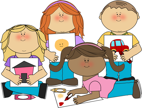 School Kids Coloring Clip Art Image - group of school kids coloring ...