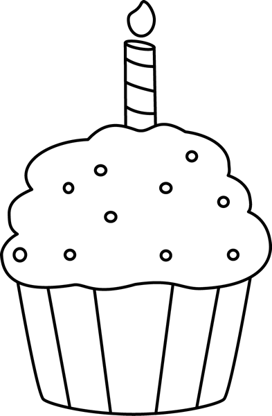 Black and White Birthday Cupcake