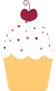 Cupcake and Hearts Clip Art Image