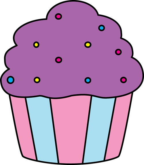 Purple Cupcake with Sprinkles Clip Art - Purple Cupcake with