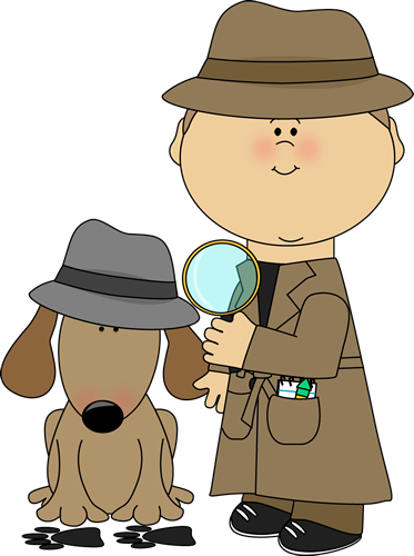 Detective and Dog Investigating Clues