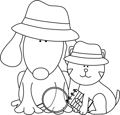 Black and White Detective Dog and Cat