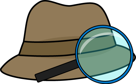 Detective Hat and Magnifying Glass Clip Art
