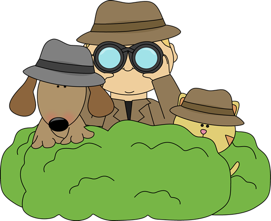 Detective in Bushes with Cat and Dog