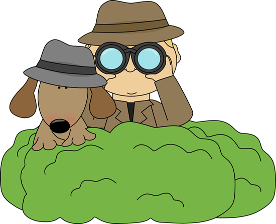 Detective and Dog in Bushes