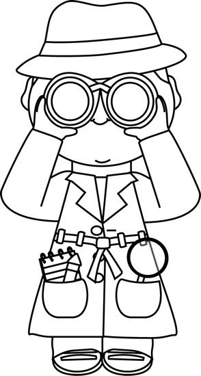 Black and White Detective with Binoculars Clip Art - Black ...
