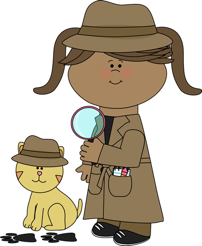 Girl Detective and Cat Following Clues Clip Art - Girl ...