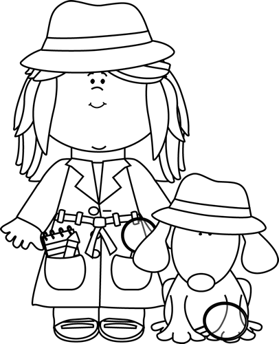 Black and White Girl Detective with Dog