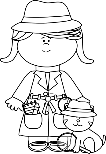 Black and White Little Girl Detective with Cat