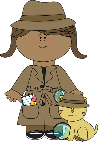 Little Girl Detective with Cat with Cat