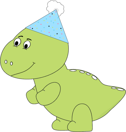 Green Dinosaur Wearing a Party Hat