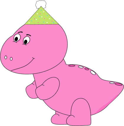 Pink Dinosaur Wearing a Party Hat