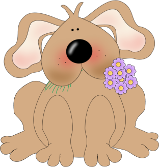 Dog with Flowers In His Mouth