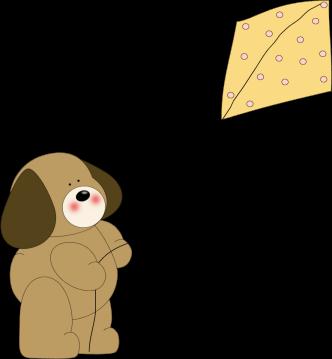 Dog Flying a Kite