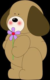 Dog Holding a Purple Flower