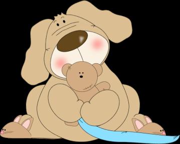 Dog Hugging a Teddy Bear