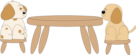 Dogs Sitting at a Table