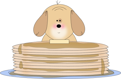Puppy Eating Pancakes