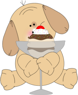 Puppy Eating Sundae