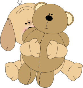 Puppy Hugging a Teddy Bear