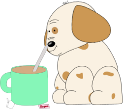 Puppy Stirring Coffee
