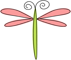 Scribble Dragonfly Clip Art Image - hand drawn pink and green ...