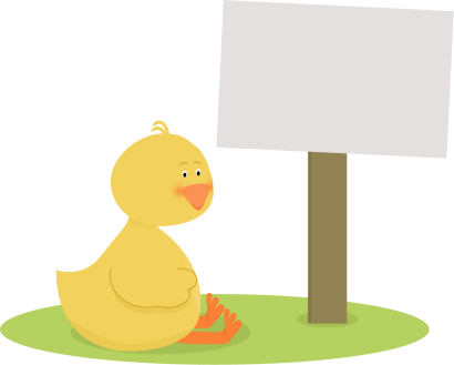 Duck with a Blank Sign