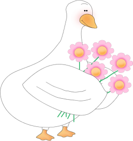 Duck Holding Flowers