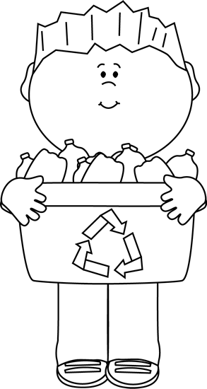 Black and White Boy Carrying a Recycle Bin